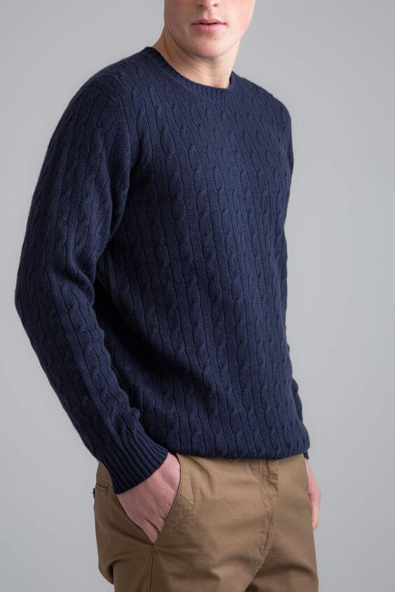 Navy Rib Cable Cashmere Jumper
