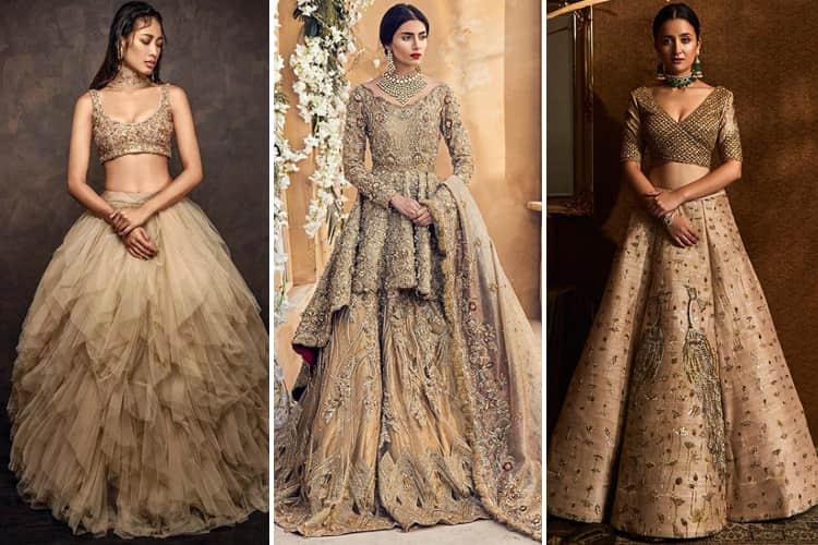 10 Golden Bridal Lehenga Designs To Fall For